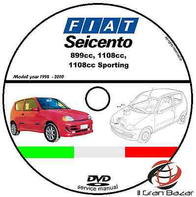 Manuale Officina Fiat Seicento My 1998 - 2010 Workshop Manual Cd Dvd