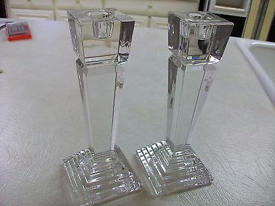 """Pair LENOX CRYSTAL """"Monument Collection"""" Candlesticks~8"""" new"""