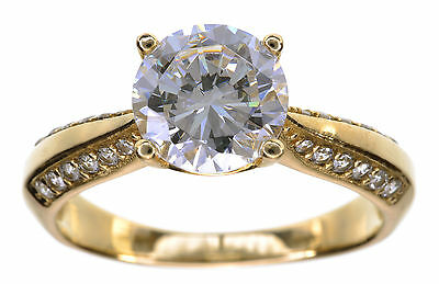 14KT Yellow Gold 2.00 Cttw Clear Diamonique Solitaire Ring Size 10