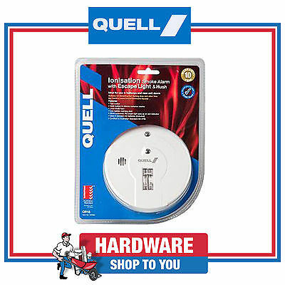 Smoke Alarm Quell Ionisation Battery Smoke Detector With Escape Light & Hush