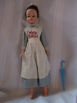 Vintage Horsman Mary Poppins doll in original outfit with umbrella