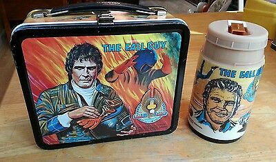 1981 THE FALL GUY w/ Lee Majors Metal Lunchbox w/ Thermos...Estate Find
