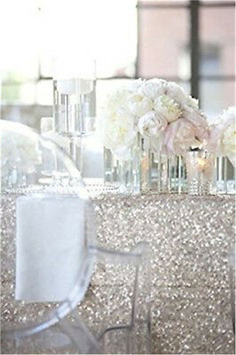 Wholesale Gliter Silver 120*180cm Sequin Tablecloth for Christmas Wedding