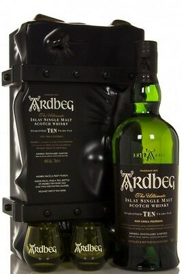 Ardbeg Islay 10 Yo Single Malt Whisky Limited Edition Escape Case & 2 Glasses