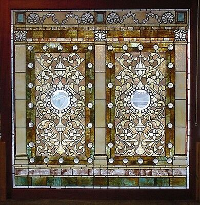 Antique American Stained/Jeweled and Beveled Glass Landing Window