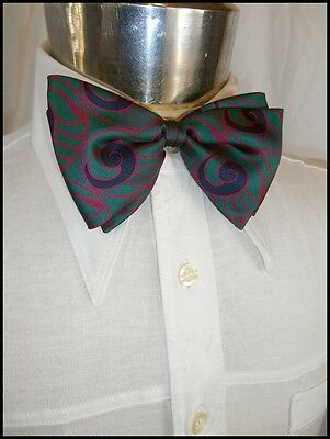 Vintage Blue & Green Paisley Christian Dior Strap On Silk Bow Tie - Prom Formal