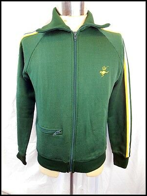 Vintage 1960s 70s Green & Gold Nylon Cotton Simpson Zip-Up Training Jacket M