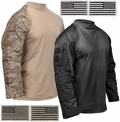 Rothco Mens Cotton Blend Tactical Airsoft Combat Shirt & 2 Free USA Flag Patches