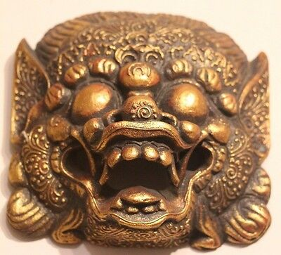 hand carved solid wooden Balinese gold Barong wall mask leader of good spirits