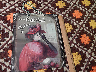 Coca-Cola Gift Bag (Victorian Era - Lady in Red) w/ Striped Handles (HTF_Ltd.)