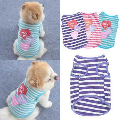 Pet Summer Clothes Puppy Dog Cat Cute T shirt Coat Vest Outfits Costumes Apparel