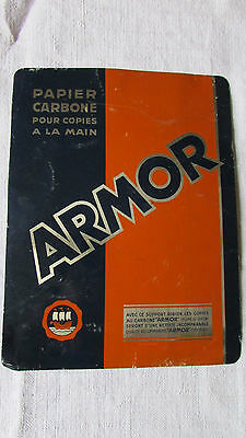 """Vintage French Double Sided """"armor"""" Tin Plaque Printers Advertising Sign Exc Con"""
