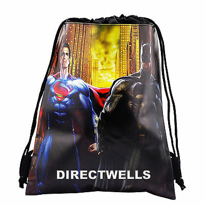 d5161a7ee5f Batman Superman Authentic Licensed Black Drawstring String Bag School  Backpack
