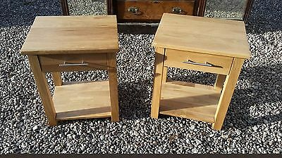2 Solid Light Oak Bedside Drawers / Lamp Tables Del Avail