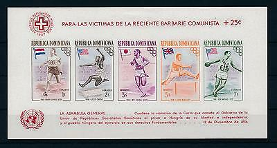 [36915] Dominican Republic 1957 Olympic games Red Cross UN Imperf. Sheet MNH