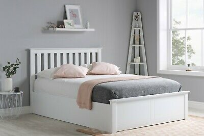 Wooden Ottoman Storage Gas Lift Bed 4ft6 5ft Ottoman Bed White Mattress Options