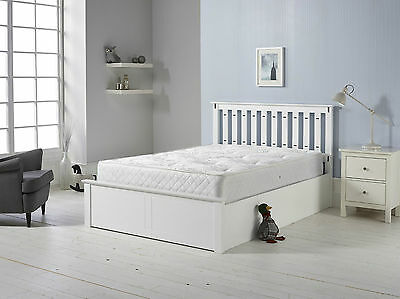 Wooden Ottoman Storage Bed White 4ft6 5ft Gas Lift Bed with Mattress Options
