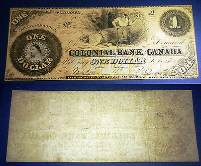 Colonial Bank of Canada, 1859, $1- TWO Signature 130-10-02-02 SCARCE