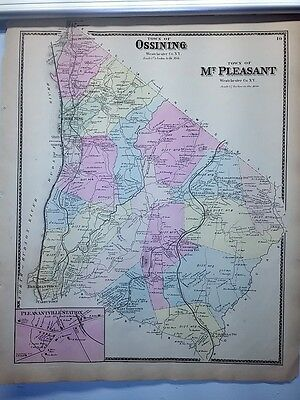 Antique 1867 Hand-Colored  Map of Ossining Mt. Pleasant NY (#10)