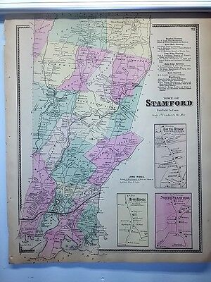 Antique 1867 Hand-Colored  Map of Stamford CT (#22) by F.W. Beers (ed.)