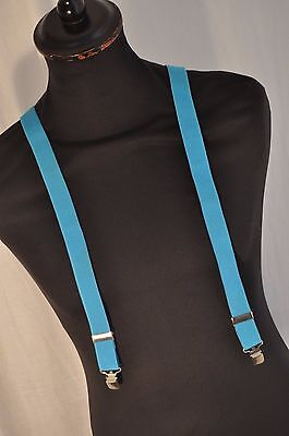 Vintage thin electric blue gentleman's braces suspenders clip fastening