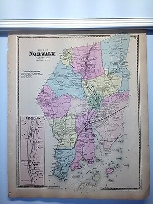 Antique 1867 Hand-Colored  Map of Norwalk CT (#25) by F.W. Beers (ed.)