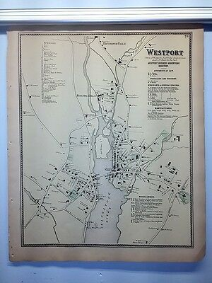 Antique 1867 Hand-Colored  Map of Westport CT (#28) by F.W. Beers (ed.)