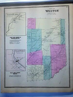 Antique 1867 Hand-Colored  Map of Weston, CT (#36) by F.W. Beers (ed.)