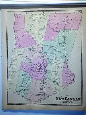 Antique 1867 Hand-Colored  Map of New Canaan, CT (#38)