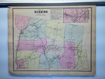 Antique 1867 Hand-Colored  Map of Redding, Georgetown CT (#41)