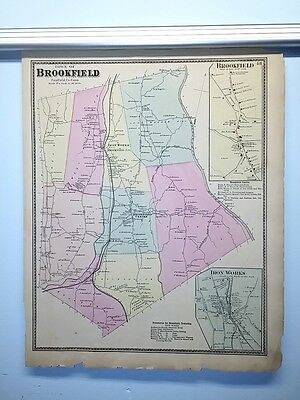 Antique 1867 Hand-Colored  Map of Brookfield, CT (#48)