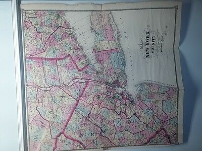 Antique 1867 F. W. Beers map of New York and Vicinity by F.W. Beers