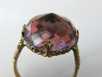 Antique-Edwardian-Superb Priests Style Ring In Brass & Amethyst Paste-c1900's