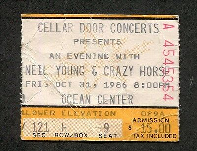1986 Neil Young & Crazy Horse concert ticket stub Daytona Beach Landing on Water