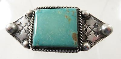 Old Pawn Large Navajo Turquoise Stone Sterling Brooch Nice Stampwork