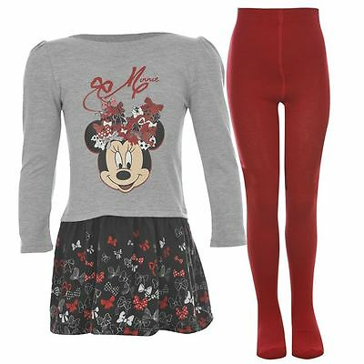 Official Licensed Disney Minnie Mouse Dress Tights Set Outfit Sizes 2 To 10 Yrs