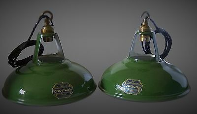 Green Enamel Coolicon Pendant Lights Excellent Condition Rewired (3 Available)