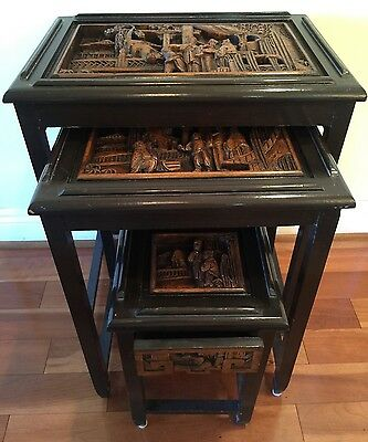 A Set Of Three Antique Chinese Carved Wood Table.