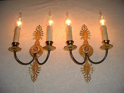 Great vintage pair of French bronze Empire style sconces