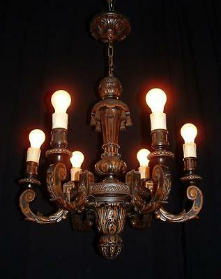 Vintage French carved wood chandelier with wood bells