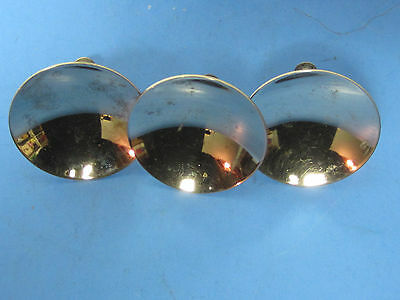 3- Vintage Mid Century  Concave Round  Furniture Stanless Pull Knobs