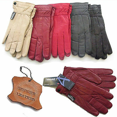Ladies Leather Gloves Thinsulate Thermal Fleece Lined Driving Soft Winter Warm