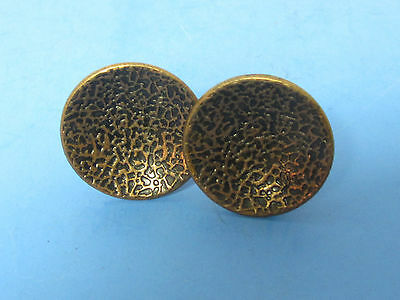 2 Vintage Mid Century  Concave Round  Furniture Hammered Steel Copper Pull Knobs