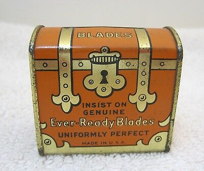 Vintage Ever Ready Shaving Blades Treasure Chest Shaped Tin Box 17/8 x 13/4 T70