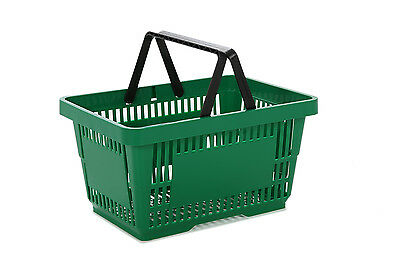 Hand Shopping Baskets GREEN Plastic 22 Litre