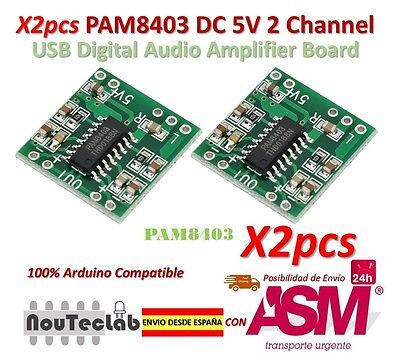 2pcs PAM8403 Audio Module Class-D Digital Amplifier Board 2.5 to 5V USB Power
