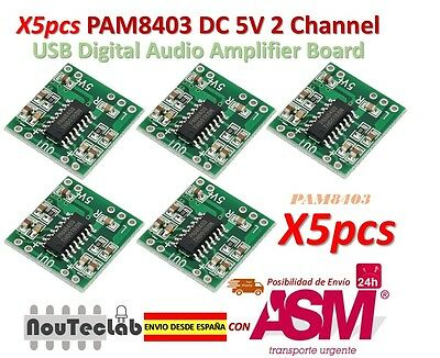 5pcs PAM8403 Audio Module Class-D Digital Amplifier Board 2.5 to 5V USB Power