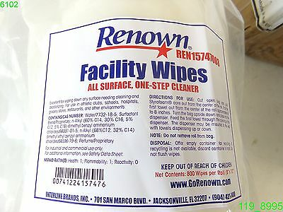 Renown Centerpull Facility Wipes 8X10- Case Of (2) 800Ct Wipes Ren15747003 - New