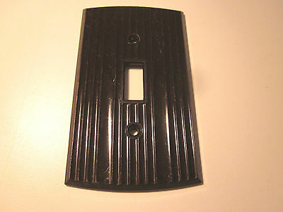 Vintage Rogers ribbed arched brown bakelite wall switch plate cover Art Deco