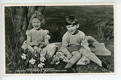 Rare PRINCE CHARLES AS A KID English Royalty RPPC Princess Anne 1955